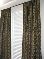 New custom made Drapes embroidered brown faux silk Curtains Window Drapery PAIR
