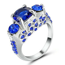 Size 6 Blue Sapphire CZ Wedding Ring Women's 10Kt White Gold Filled Engagement