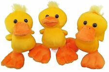 """Plush Yellow Duck soft cuddly toy  5.5""""  3 in a pack"""
