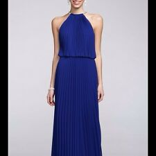 Xscape Womens Pleated Chiffon Halter Maxi Long Dress XS3350 RRP £159 BNWT 8 Blue