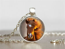 New horse Cabochon Tibetan silver Glass Chain Pendant Necklace XC69