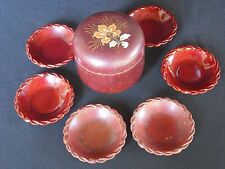 Occupied Japan Maruni Lacquerware Coaster Set In Lovely Box Holder Container