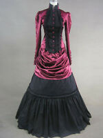 Vintage Gothic Red Lolita Victorian Aristocrat Long Dress Ball Gown S M L XXL XS