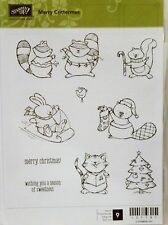 Stampin Up MERRY CRITTERMAS clear mount stamps forest animals Christmas tree