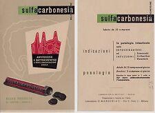 """# PUBBLICITARIA MEDICALE """"SULFA-CARBONESIA"""" LAB. G. MANZONI & C. - Milano"""