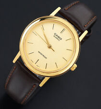 Casio MTP-1095Q-9A Men's Analog Gold Watch Brown Leather Band Smooth Quartz New