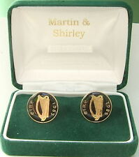 1985 IRELAND cufflinks made from OLD IRISH COINS in black & gold