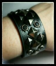 SILVER DIAMOND SHAPES CIRCLE BLACK BIKER ROCK BRACELET SNAP CUFF WRISTBAND NEW