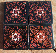 "12~Talavera Mexican 2"" tile pottery handpainted black terra cotta copper white"