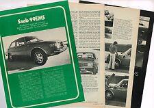 vintage 1973 SAAB 99EMS Road Test {Brochure info} by Motor Trend, 99 EMS