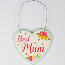 Best Mum Floral heart shaped Mini Wooden Plaque - Hanging plaque