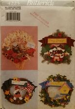 New Uncut Butterick 4225 No-Sew Four Seasonal Wreaths O/S Pattern