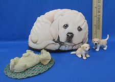 Lot 5 Yellow Lab Labrador Retreiver Dog Figure Figurine Sandicast Paperweight