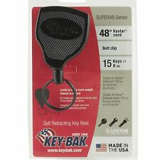 "Key-Bak Self Retracting Key Ring Reel Super 48"" Kevlar Cord Holds 15 keys 8-10oz"