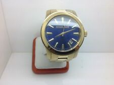 MICHAEL KORS MK7049 GOLD TONE/STAINLESS STEEL RUNWAY MANS WATCH W/BLUE DIAL