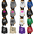 Womens Off the Shoulder Sweatshirt Tops Ladies Long Sleeve Loose Pullover Jumper