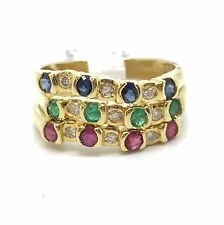 14k Yellow Gold Natural Ruby Sapphire Emerald And Diamond 3 Bands/ Rings.