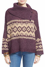 NEW Free People Fair Isle Split Neck Sweater Cape Nordic Boho Merlot Sz M $148