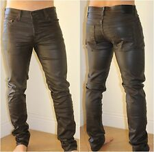True Religion Dean Jeans Black Coated Like Leather Pants Slim Men's Size 33