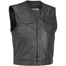 Gilet Cuir Giro Cou Fermeture À Glissière Boutons Style Sons Biker Taille M