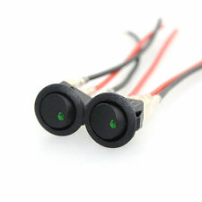 2x Car SUV Truck 12V Rocker Boat Green LED Light Toggle SPST ON/OFF Switch Round