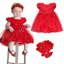 Red Petals Dress With Flower Baby Girls Headband Petticoats Skirts Party Wedding