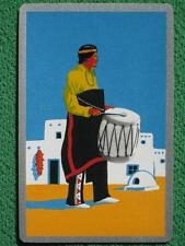 Southwest Art Deco Swap Card Native American Indian Man Beating Drum Vintage WOW