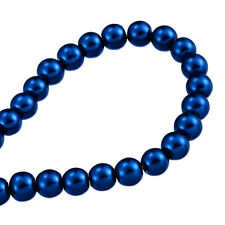 32inch STRAND DARK BLUE PEARL ~8mm~ ROUND GLASS BEADS~Bracelets~Necklace (76H)