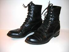 Men's black LEATHER COMBAT BOOTS by JUSTIN STYLE 506, size 9 E