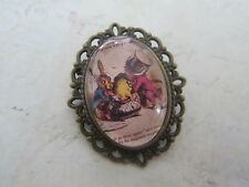 Alice in Wonderland Tea Party Mad Hatter Bronze Plated  Brooch New Gift Bag