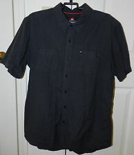 Men's QUICKSILVER Short Sleeve Butto Down Pin Point Shirt (Size: L/ G/ G) EUC