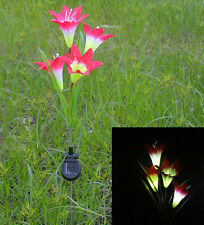US Waterproof Solar Powered 4 LED Light Red Lily Flower Garden Lawn Lamp Yard