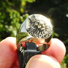 LION OF JUDAH WITH CROWN BRONZE RING Rastafari Ethiopia Africa Jamaica Ganja
