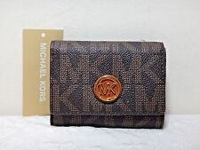 NWT Michael Kors Fulton MK Signature Snap Card Case Leather Mini Wallet, Brown
