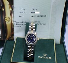 ROLEX LADIES DATEJUST 69163 STAINLESS & 18K GOLD DIAMOND DIAL BOX & WARRANTY