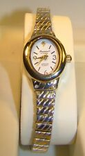 Pretty Ladies Gruen Precision Genuine Diamond Two Tone Watch NOS In Box