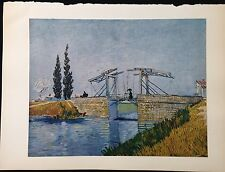 "1950 Vintage Full Color Art Plate ""THE DRAWBRIDGE"" by VAN GOGH LOVELY Lithograph"