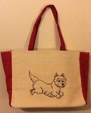 NEW Large Custom Design Drawing Canvas Tote Beach Bag Westie Dog