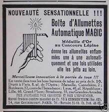 PUBLICITÉ BOITE D'ALLUMETTES AUTOMATIQUE MAGIC MEDAILLE D'OR AU CONCOURS LÉPINE
