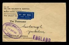 AUSTRALIA MONEY ORDER 1941 AIRMAIL ADVICE PERTH to SCARBOROUGH GB