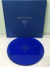 """13"""" Colbalt Blue Menorah Etched Cake Plate Free Shipping"""