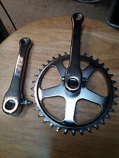 "5"" COTTERED CRANK ARM SET with 36T SPROCKET with cotter pins NOS VINTAGE"