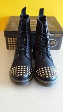 New Women Gia Mia Denim Rocker Spike Boots Size 8 Black