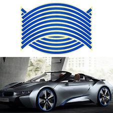 "16 Strips Car Motor Wheel PVC 14"" Reflective Tape Rim Stripe Stickers Decal Blue"