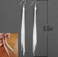Fashion Jewelry Noble Tassels Design Silver Plated Long Hook Dangle Earrings GOS