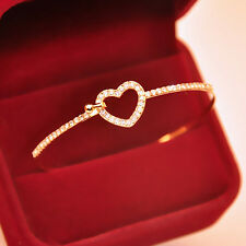 Gold Plated Hollow Love Heart-Shaped Crystal Bangle Female Party Bracelet CAS