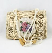 Natural Straw Shoulder Bag Purse Embroidered Flower Patch Double Rope Straps
