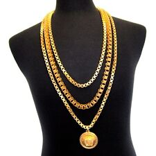 L-3361499 New Versace Uomo Triple Chain 24K Gold Plated Necklace