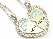 NEW BEST FRIEND Dolphin Heart Silver Tone 2 Pendants 2 Necklace BFF Friendship