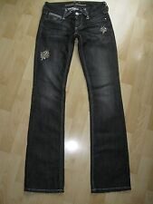 Women's Distressed GUESS 'Daredevil' Black Boot Cut Jeans w/ BLING - Size 24